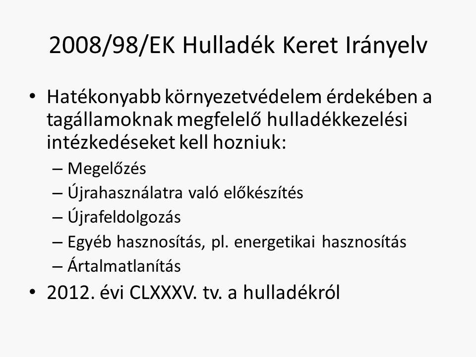 2008/98/EK Hulladék Keret Irányelv Hatékonyabb környezetvédelem érdekében a tagállamoknak megfelelő hulladékkezelési intézkedéseket kell hozniuk: – Me