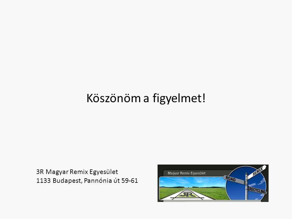 Köszönöm a figyelmet! 3R Magyar Remix Egyesület 1133 Budapest, Pannónia út 59-61