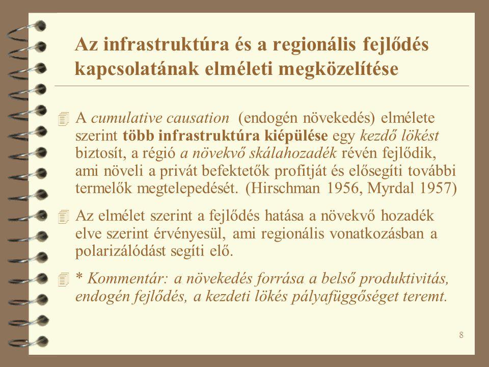 9 Az infrastruktúra és a regionális fejlődés kapcsolatának elméleti megközelítése 4 Mindkét elmélet alapján az infrastruktúrának a termelőkre gyakorolt (kínálati és a keresleti oldali) előnyeit szokták kiemelni.