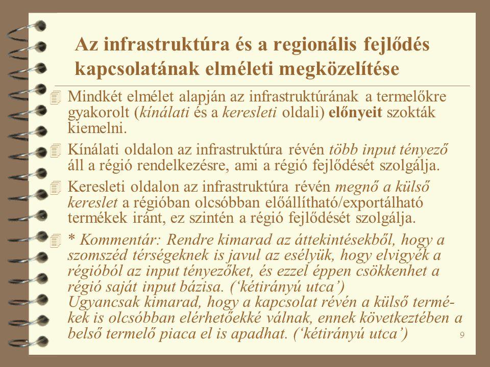 10 Az infrastruktúra nem-területi hatásairól 4 Hirschman és Rostow.