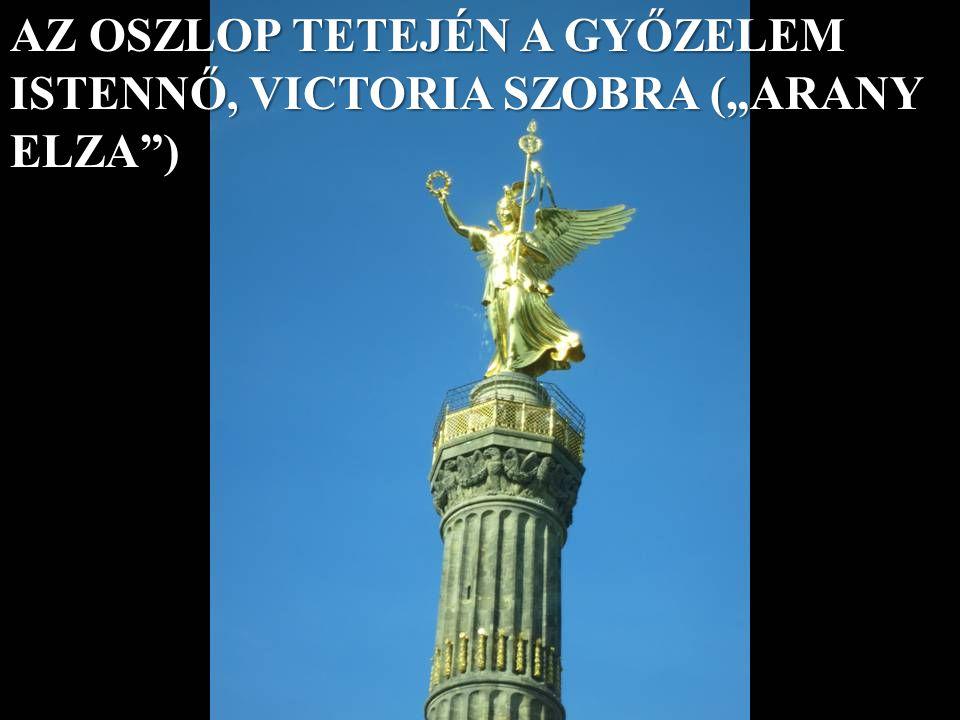 """AZ OSZLOP TETEJÉN A GYŐZELEM ISTENNŐ, VICTORIA SZOBRA (""""ARANY ELZA )"""