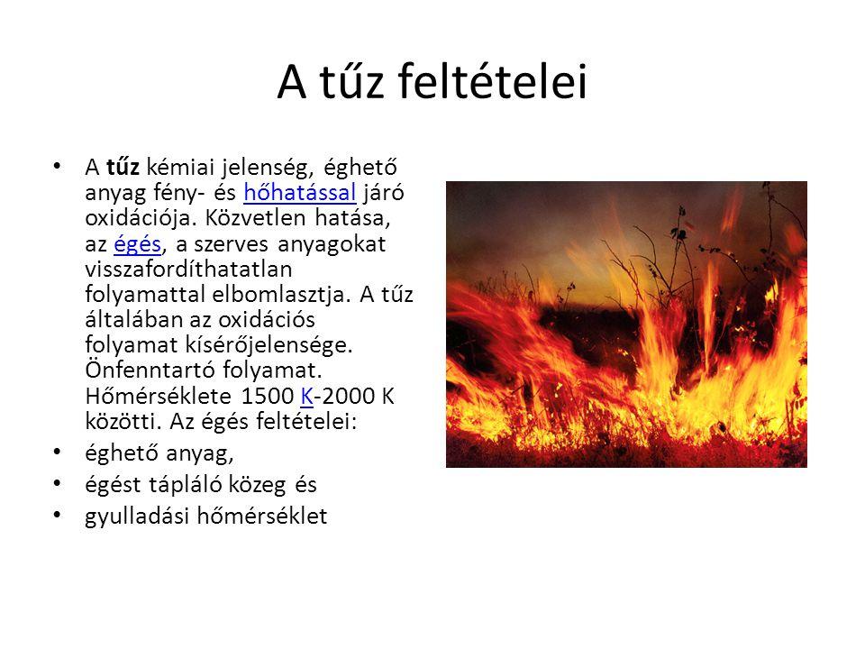 A tűz feltételei A tűz kémiai jelenség, éghető anyag fény- és hőhatással járó oxidációja.