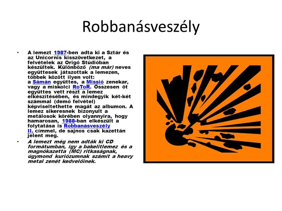 Robbanásveszély A lemezt 1987-ben adta ki a Sztár és az Unicornis kisszövetkezet, a felvételek az Origó Stúdióban készültek.