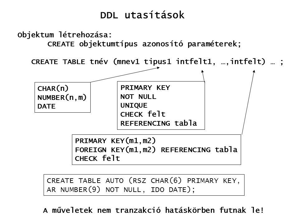 DDL utasítások Objektum létrehozása: CREATE objektumtípus azonosító paraméterek; CREATE TABLE tnév (mnev1 tipus1 intfelt1, …,intfelt) … ; CHAR(n) NUMB
