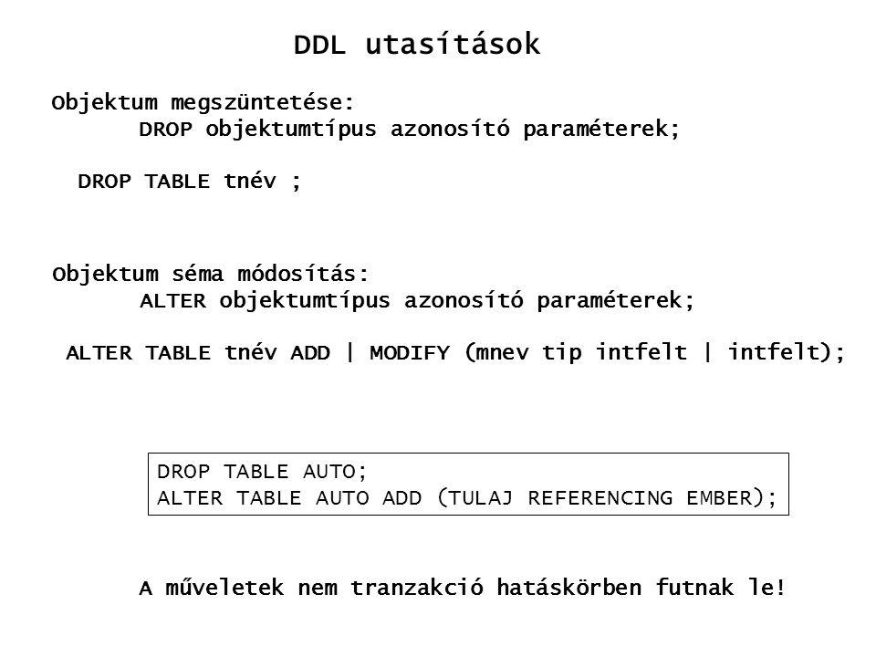 DDL utasítások Objektum megszüntetése: DROP objektumtípus azonosító paraméterek; DROP TABLE tnév ; Objektum séma módosítás: ALTER objektumtípus azonos