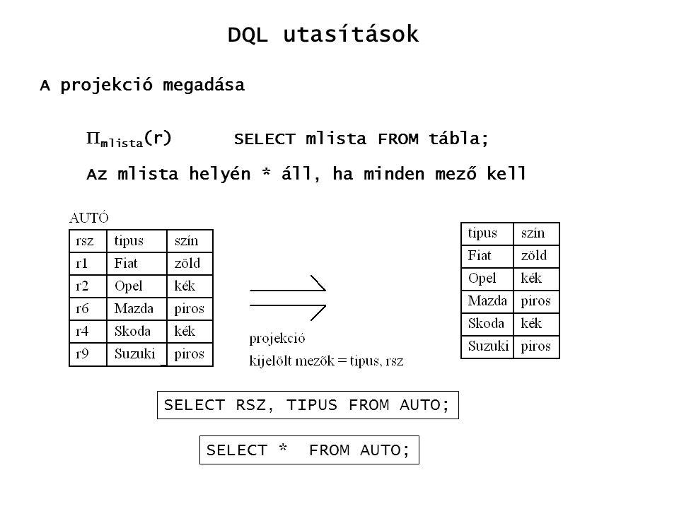 A projekció megadása  mlista (r) SELECT RSZ, TIPUS FROM AUTO; SELECT mlista FROM tábla; Az mlista helyén * áll, ha minden mező kell DQL utasítások SE