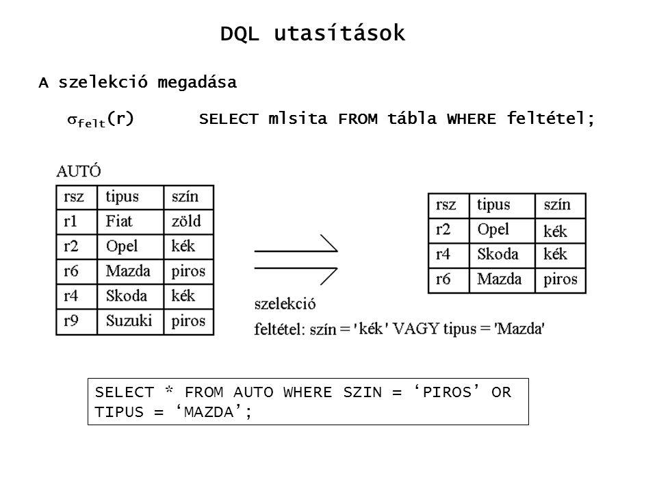 DQL utasítások  felt (r) A szelekció megadása SELECT mlsita FROM tábla WHERE feltétel; SELECT * FROM AUTO WHERE SZIN = 'PIROS' OR TIPUS = 'MAZDA';