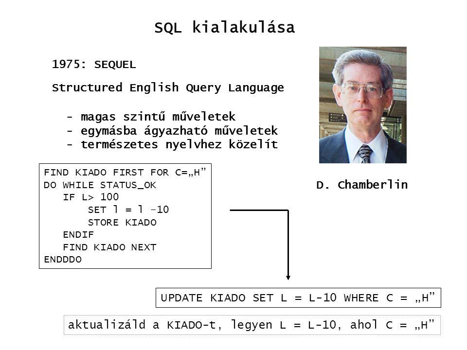 SQL kialakulása 1986: ANSI SQL 1987: ISO SQL 1989: ANSI89 1992: SQL92 1999: SQL1999 2003: SQL2003 1975: SEQUEL 1977: SEQUEL/2 (SQL) 1979: system/38 SQL 1979: Oracle SQL 1983: DB2 SQL Ingres Oracle IBM DB2 Sybase Informix MS SQLServer PostgresSQL mySQL Access termékek szabványok igények aktív elemek, OO, OLAP,..