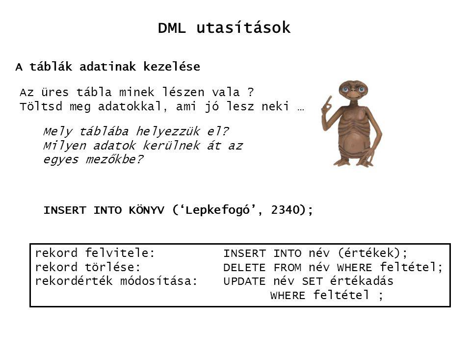 DML utasítások A táblák adatinak kezelése Az üres tábla minek lészen vala ? Töltsd meg adatokkal, ami jó lesz neki … Mely táblába helyezzük el? Milyen