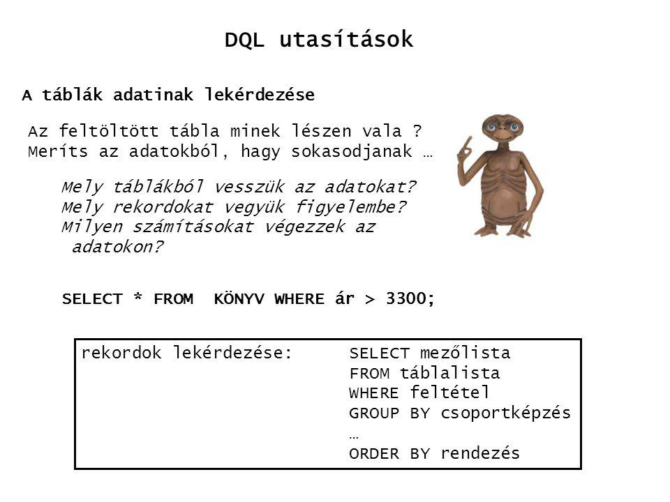 DQL utasítások A táblák adatinak lekérdezése Az feltöltött tábla minek lészen vala ? Meríts az adatokból, hagy sokasodjanak … Mely táblákból vesszük a
