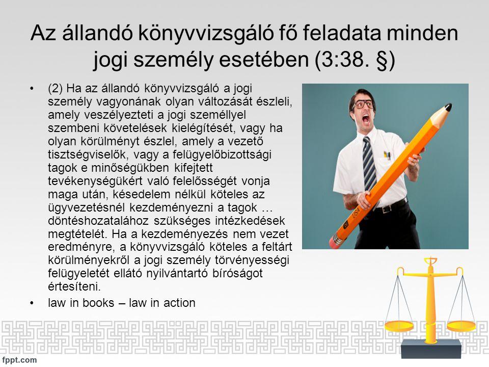 Az állandó könyvvizsgáló fő feladata minden jogi személy esetében (3:38. §) (2) Ha az állandó könyvvizsgáló a jogi személy vagyonának olyan változását