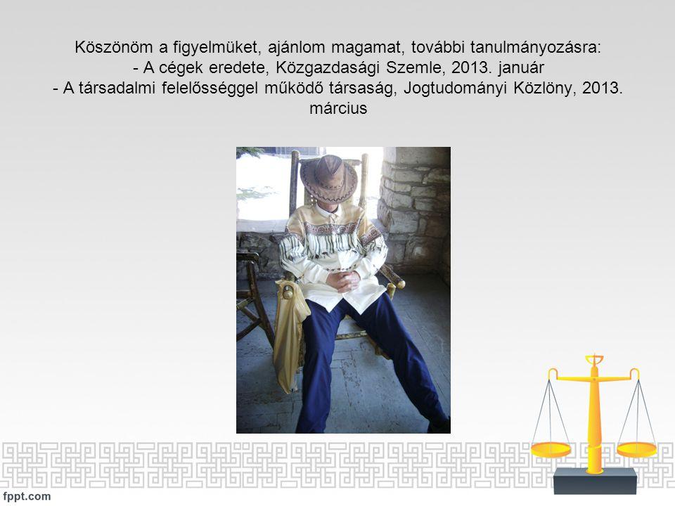 Köszönöm a figyelmüket, ajánlom magamat, további tanulmányozásra: - A cégek eredete, Közgazdasági Szemle, 2013. január - A társadalmi felelősséggel mű