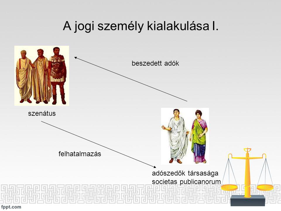 A jogi személy kialakulása I. szenátus adószedők társasága societas publicanorum felhatalmazás beszedett adók