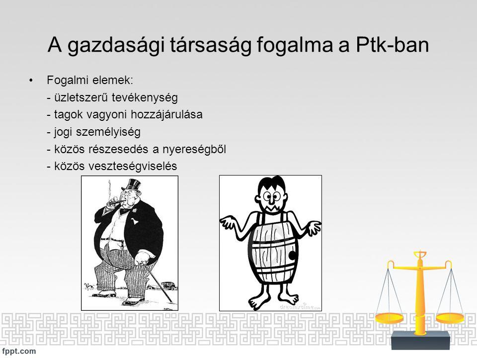 A gazdasági társaság fogalma a Ptk-ban Fogalmi elemek: - üzletszerű tevékenység - tagok vagyoni hozzájárulása - jogi személyiség - közös részesedés a