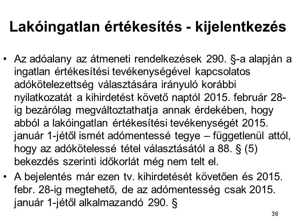 Az adóalany az átmeneti rendelkezések 290.