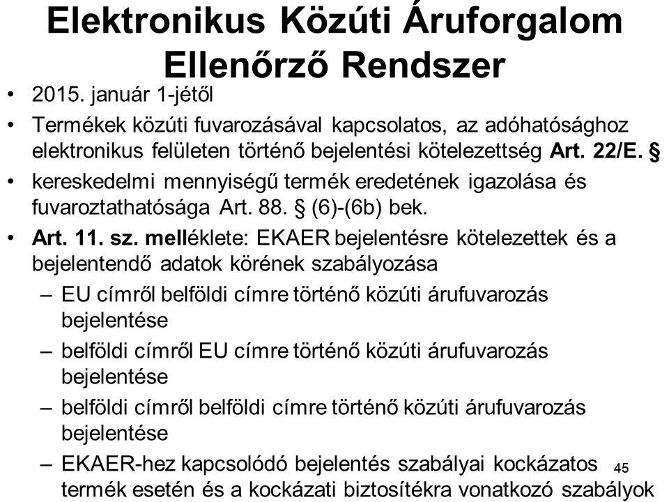 45 Elektronikus Közúti Áruforgalom Ellenőrző Rendszer 2015.