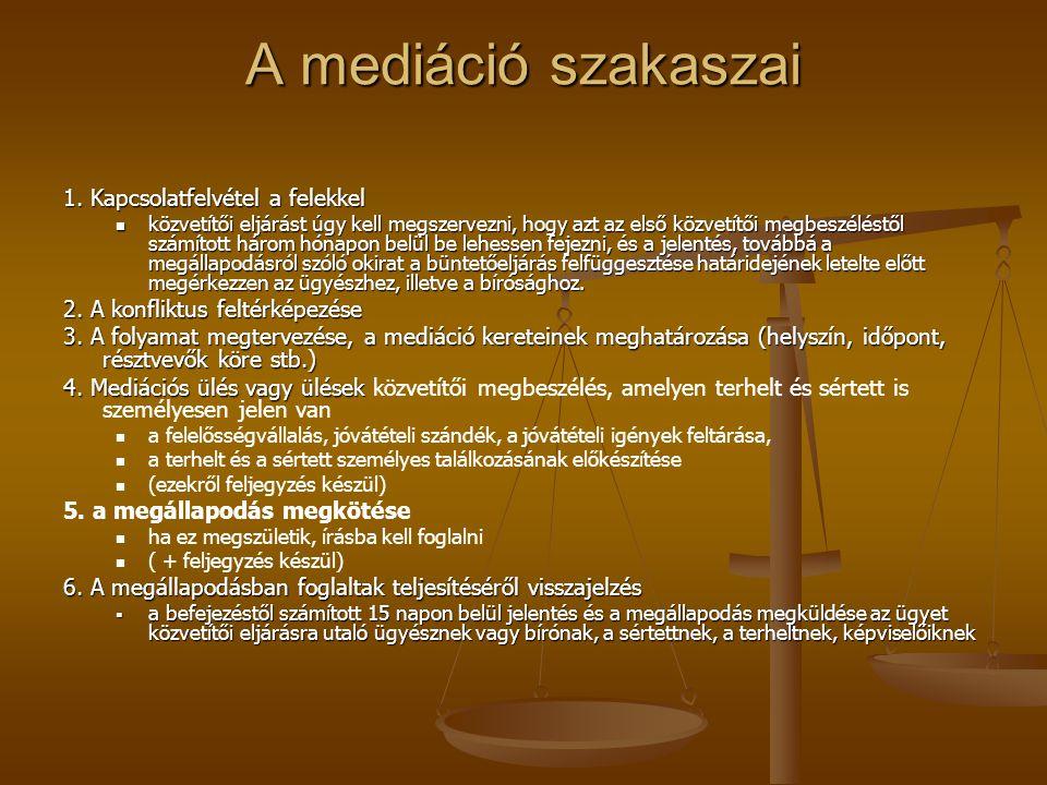 A mediáció szakaszai 1. Kapcsolatfelvétel a felekkel közvetítői eljárást úgy kell megszervezni, hogy azt az első közvetítői megbeszéléstől számított h
