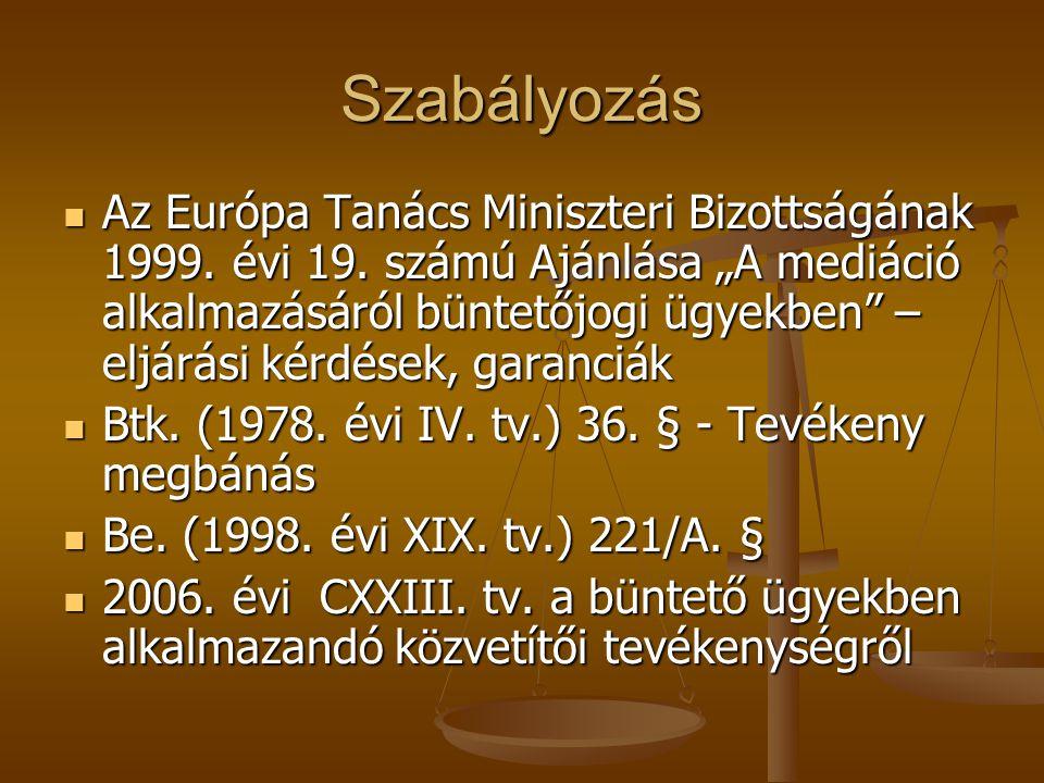 """Szabályozás Az Európa Tanács Miniszteri Bizottságának 1999. évi 19. számú Ajánlása """"A mediáció alkalmazásáról büntetőjogi ügyekben"""" – eljárási kérdése"""