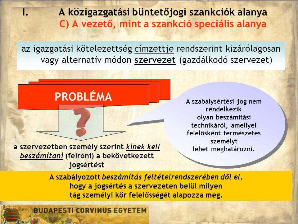 az igazgatási kötelezettség címzettje rendszerint kizárólagosan vagy alternatív módon szervezet (gazdálkodó szervezet) I.A közigazgatási büntetőjogi szankciók alanya C) A vezető, mint a szankció speciális alanya PROBLÉMA A szabályozott beszámítás feltételrendszerében dől el, hogy a jogsértés a szervezeten belül milyen tág személyi kör felelősségét alapozza meg.