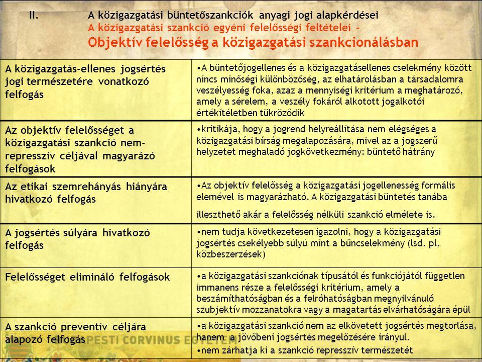 II.A közigazgatási büntetőszankciók anyagi jogi alapkérdései A közigazgatási szankció egyéni felelősségi feltételei – Objektív felelősség a közigazgatási szankcionálásban A közigazgatás-ellenes jogsértés jogi természetére vonatkozó felfogás A büntetőjogellenes és a közigazgatásellenes cselekmény között nincs minőségi különbözőség, az elhatárolásban a társadalomra veszélyesség foka, azaz a mennyiségi kritérium a meghatározó, amely a sérelem, a veszély fokáról alkotott jogalkotói értékítéletben tükröződik Az objektív felelősséget a közigazgatási szankció nem- represszív céljával magyarázó felfogások kritikája, hogy a jogrend helyreállítása nem elégséges a közigazgatási bírság megalapozására, mivel az a jogszerű helyzetet meghaladó jogkövetkezmény: büntető hátrány Az etikai szemrehányás hiányára hivatkozó felfogás Az objektív felelősség a közigazgatási jogellenesség formális elemével is magyarázható.