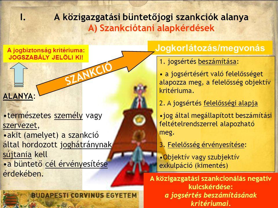 I.A közigazgatási büntetőjogi szankciók alanya A) Szankciótani alapkérdések ALANYA: természetes személy vagy szervezet, akit (amelyet) a szankció álta