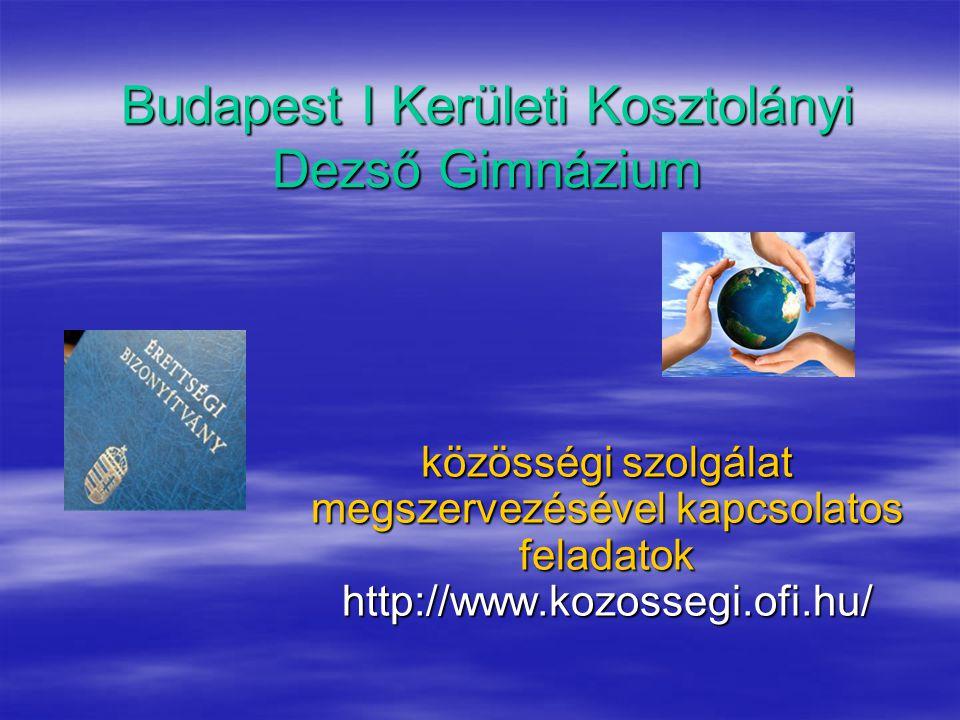 Budapest I Kerületi Kosztolányi Dezső Gimnázium közösségi szolgálat megszervezésével kapcsolatos feladatok http://www.kozossegi.ofi.hu/