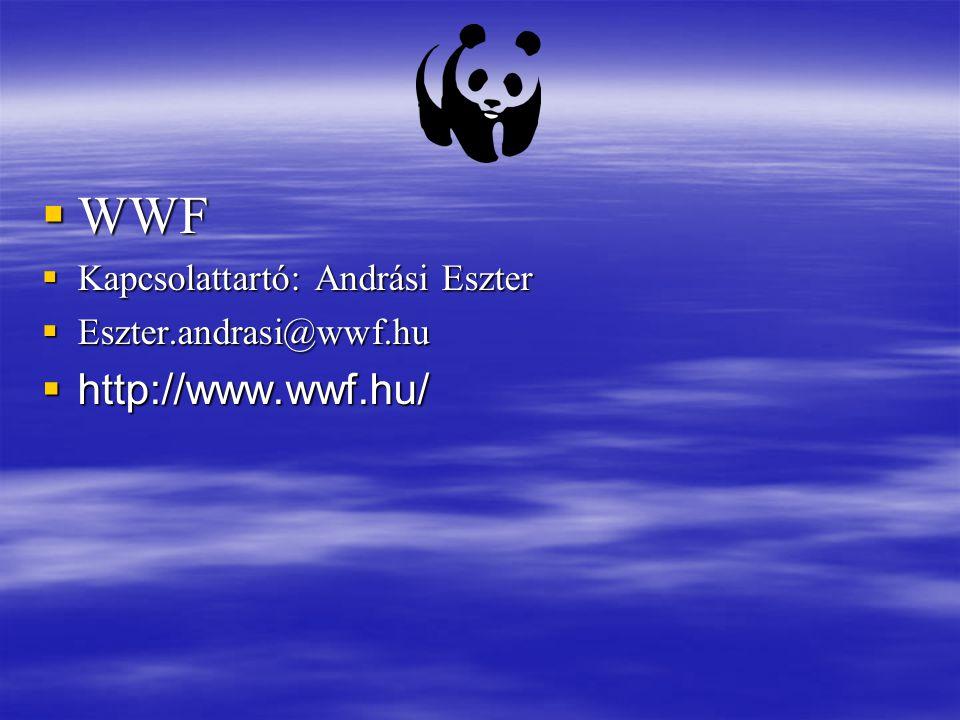  WWF  Kapcsolattartó: Andrási Eszter  Eszter.andrasi@wwf.hu  http://www.wwf.hu/