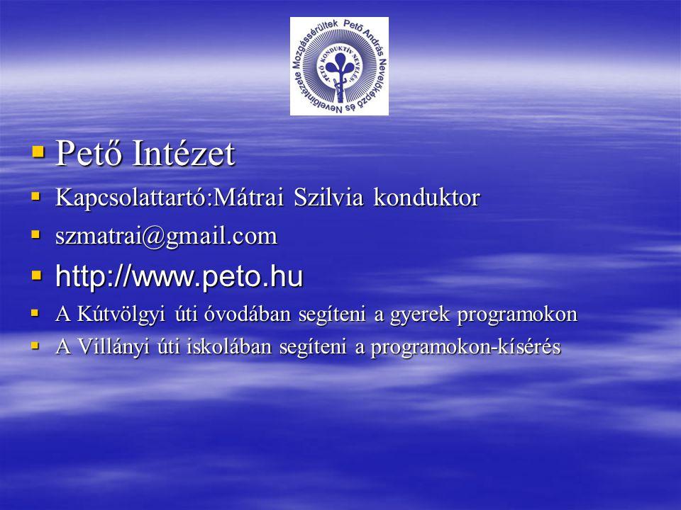  Pető Intézet  Kapcsolattartó:Mátrai Szilvia konduktor  szmatrai@gmail.com  http://www.peto.hu  A Kútvölgyi úti óvodában segíteni a gyerek progra
