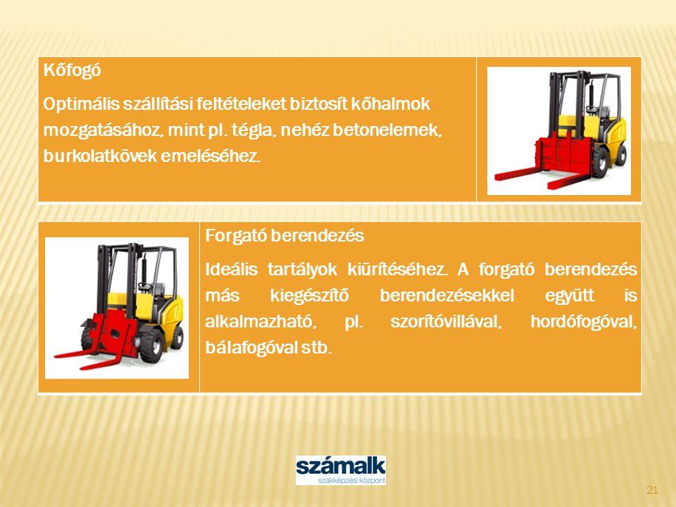 21 Kőfogó Optimális szállítási feltételeket biztosít kőhalmok mozgatásához, mint pl. tégla, nehéz betonelemek, burkolatkövek emeléséhez. Forgató beren