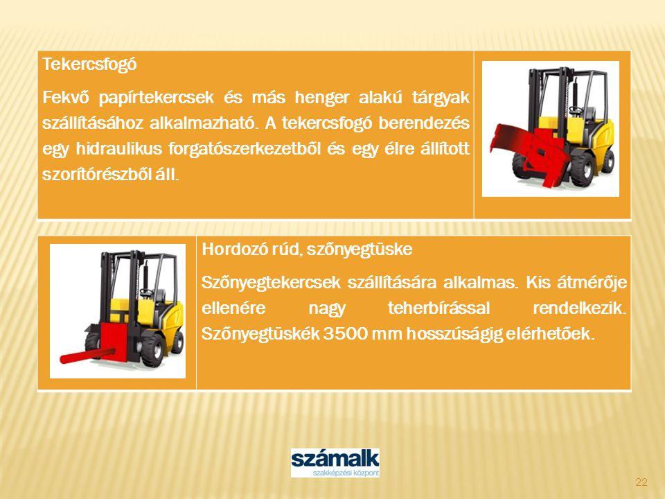 22 Tekercsfogó Fekvő papírtekercsek és más henger alakú tárgyak szállításához alkalmazható. A tekercsfogó berendezés egy hidraulikus forgatószerkezetb