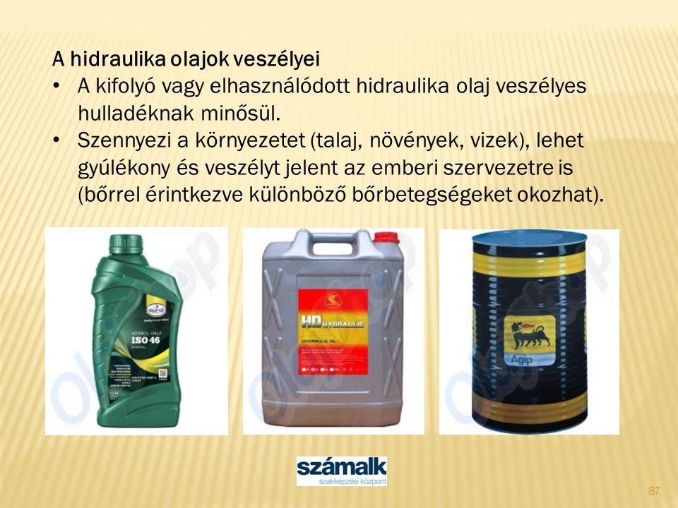 87 A hidraulika olajok veszélyei A kifolyó vagy elhasználódott hidraulika olaj veszélyes hulladéknak minősül. Szennyezi a környezetet (talaj, növények