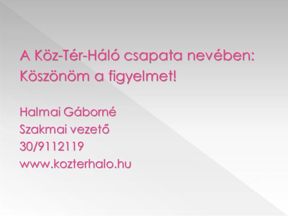 A Köz-Tér-Háló csapata nevében: Köszönöm a figyelmet! Halmai Gáborné Szakmai vezető 30/9112119www.kozterhalo.hu