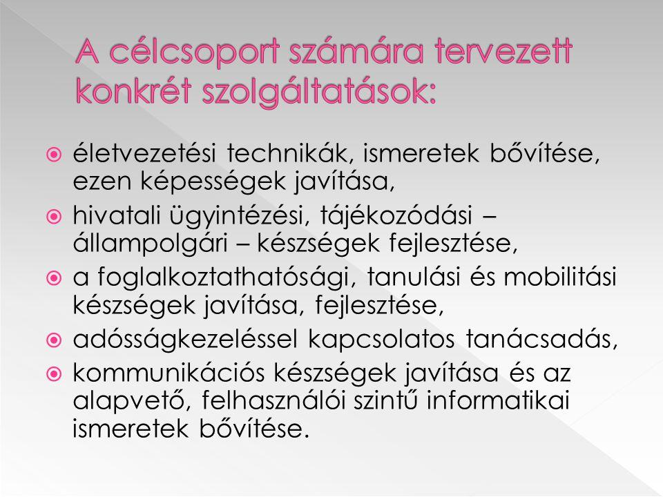 életvezetési technikák, ismeretek bővítése, ezen képességek javítása,  hivatali ügyintézési, tájékozódási – állampolgári – készségek fejlesztése,  a foglalkoztathatósági, tanulási és mobilitási készségek javítása, fejlesztése,  adósságkezeléssel kapcsolatos tanácsadás,  kommunikációs készségek javítása és az alapvető, felhasználói szintű informatikai ismeretek bővítése.