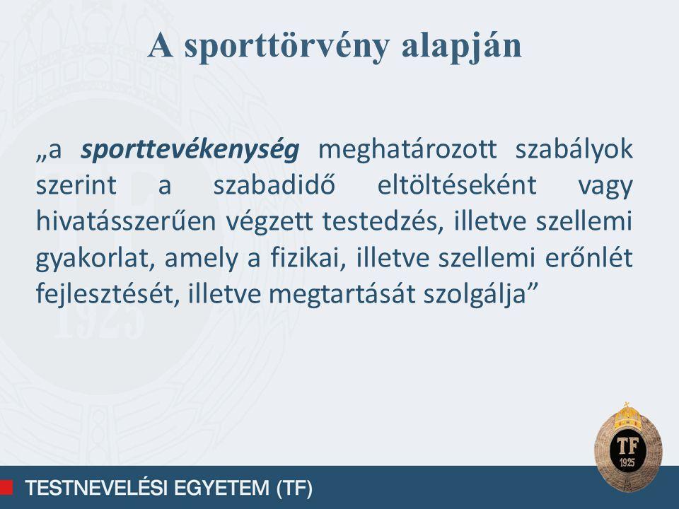 Külső befolyásoló tényezők a társadalom kulturális állapota gazdasági környezet politikai struktúra a társadalmi szervezetek súlya, szerepe infrastruktúra fejlettsége sportirányítási rendszer a sport állami támogatásának mértéke sportlétesítmények, eszközök tulajdoni kérdése a működési terület jellemzői (helyi viszonyok) támogató szervezetek, vállalatok, szponzorok szurkolók, szimpatizánsok versenytársak média