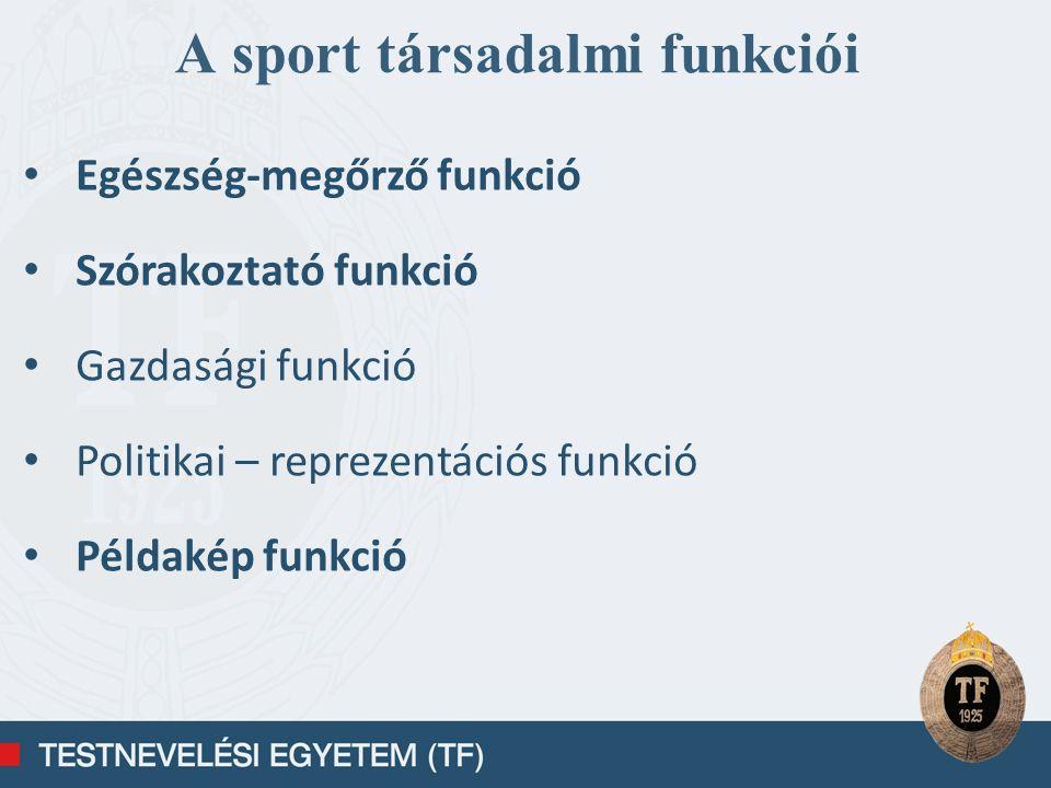 A testnevelés és sport általános értékei Társadalmi értékek Pedagógiai értékek Biológiai értékek Pszichológiai értékek Egészséges életmód Teljesítmény- orientáltság EgészségVidámság, jó közérzet Pozitív életfelfogás Kreatív munkavégző képesség Fejlett motoros képesség Fejlett konfliktus kezelés Megfelelő produktivitás Kooperációs készség Gyorsabb regenerálódás Versenyszellem Fejlett HR Szellemi túlterhelés kompenzálása Jobb reprodukciós és rekreálódási képesség Toleráns viselkedés