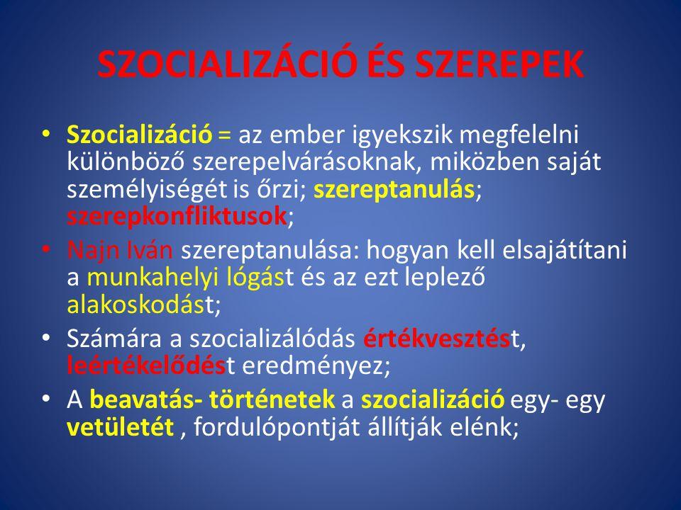 SZOCIALIZÁCIÓ ÉS SZEREPEK Szocializáció = az ember igyekszik megfelelni különböző szerepelvárásoknak, miközben saját személyiségét is őrzi; szereptanu
