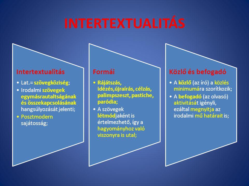 INTERTEXTUALITÁS Intertextualitás Lat.= szövegköziség; Irodalmi szövegek egymásrautaltságának és összekapcsolásának hangsúlyozását jelenti; Posztmoder