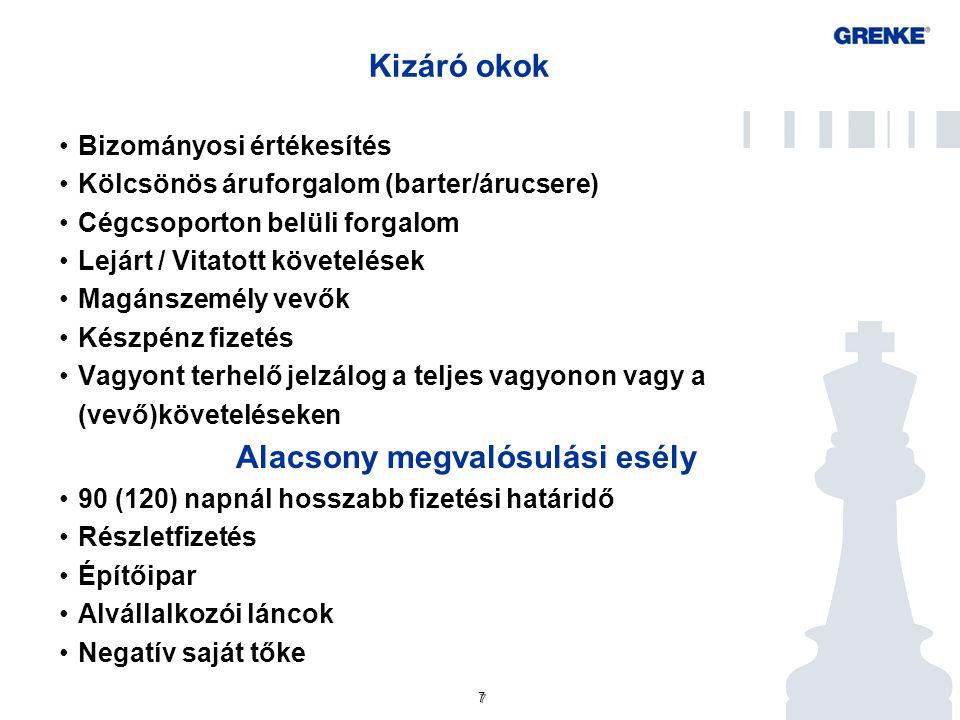 7 7 Kizáró okok Bizományosi értékesítés Kölcsönös áruforgalom (barter/árucsere) Cégcsoporton belüli forgalom Lejárt / Vitatott követelések Magánszemél