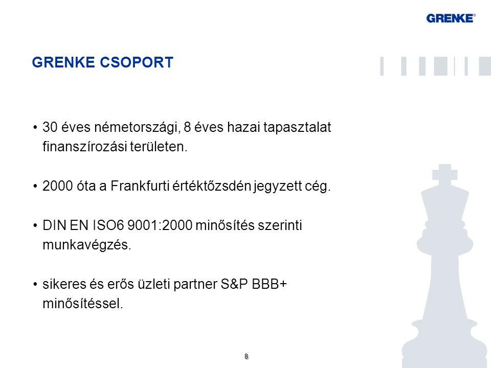 8 8 GRENKE CSOPORT 30 éves németországi, 8 éves hazai tapasztalat finanszírozási területen. 2000 óta a Frankfurti értéktőzsdén jegyzett cég. DIN EN IS