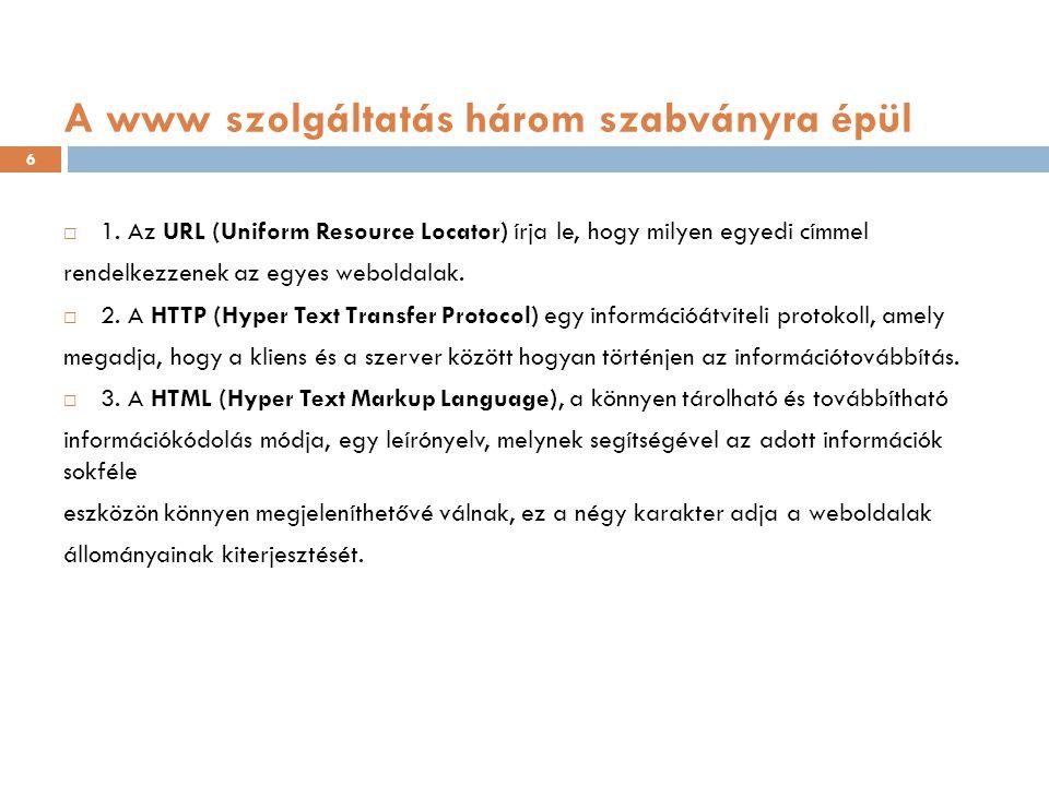 A kliens-szerver modell Mi a felhasználók a számítógépünk böngészőjébe (kliens) beírjuk a megnézendő weboldal URL címét, melynek hatására a számítógépünk egy kérést küld annak a webszervernek (szerver), amelyről a szükséges weboldal információit le szeretnénk kérni; majd a szerveren futtatott szoftver a kérésünkre elküldi a megfelelő weboldalt, amelyet megjelenít a gépünkön lévő böngészőprogram (azaz a kliens).
