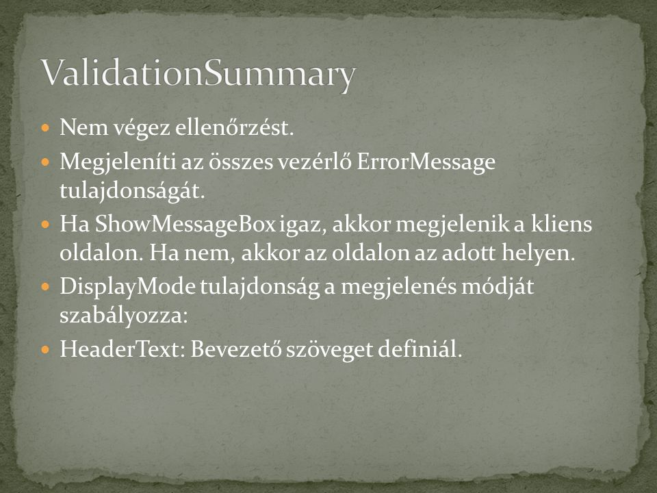 if (this.IsPostBack) { this.Validate(); if (!this.IsValid) { (IValidator aValidator in this.Validators) { if (!aValidator.IsValid) { msg += + aValidator.ErrorMessage; }