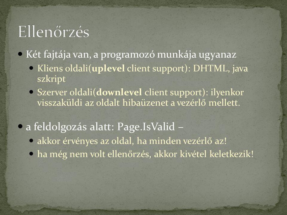 Két fajtája van, a programozó munkája ugyanaz Kliens oldali(uplevel client support): DHTML, java szkript Szerver oldali(downlevel client support): ilyenkor visszaküldi az oldalt hibaüzenet a vezérlő mellett.