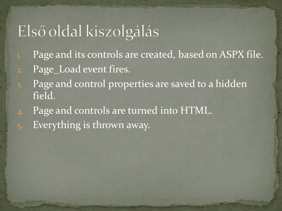 1. Page and its controls are created, based on ASPX file.