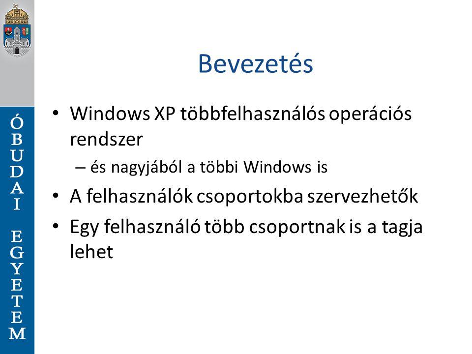 Bevezetés Windows XP többfelhasználós operációs rendszer – és nagyjából a többi Windows is A felhasználók csoportokba szervezhetők Egy felhasználó töb