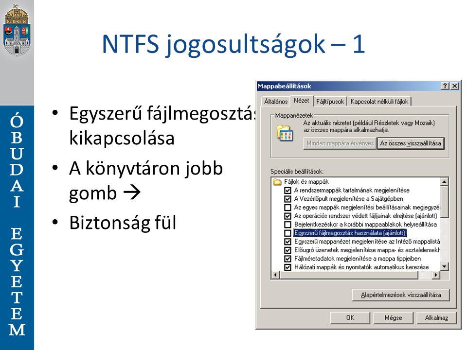 Felhasználókezelés (4) Parancssorból is felvehető user: ◦ net user parancs ◦ pl: net user wg /add user létrehozása net localgroup admins /add csoport létrehozása net localgroup admins WG /add user csoporthoz hozzáadása