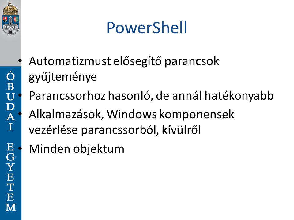 PowerShell Automatizmust elősegítő parancsok gyűjteménye Parancssorhoz hasonló, de annál hatékonyabb Alkalmazások, Windows komponensek vezérlése paran