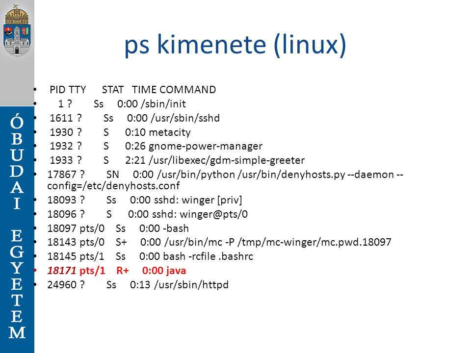 ps kimenete (linux) PID TTY STAT TIME COMMAND 1 ? Ss 0:00 /sbin/init 1611 ? Ss 0:00 /usr/sbin/sshd 1930 ? S 0:10 metacity 1932 ? S 0:26 gnome-power-ma