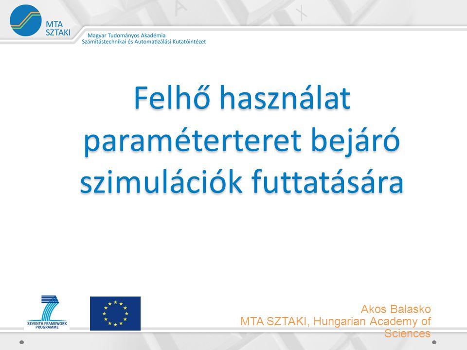Akos Balasko MTA SZTAKI, Hungarian Academy of Sciences Felhő használat paraméterteret bejáró szimulációk futtatására