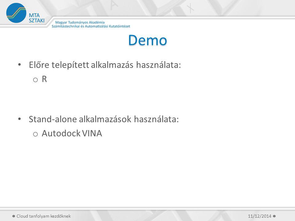 Demo Előre telepített alkalmazás használata: o R Stand-alone alkalmazások használata: o Autodock VINA 11/12/2014Cloud tanfolyam kezdőknek