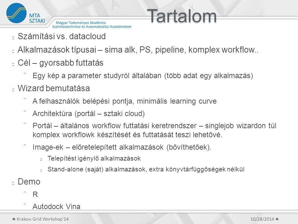 Tartalom 10/28/2014Krakow Grid Workshop'14 Számítási vs. datacloud Alkalmazások típusai – sima alk, PS, pipeline, komplex workflow.. Cél – gyorsabb fu